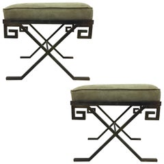 Pair of French Modern Neoclassical Benches in the Style of Jean-Michel Frank