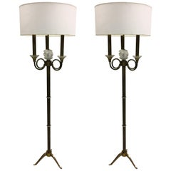 Pair of French Modern Neoclassical Brass and Crystal Floor Lamps, Jules Leleu
