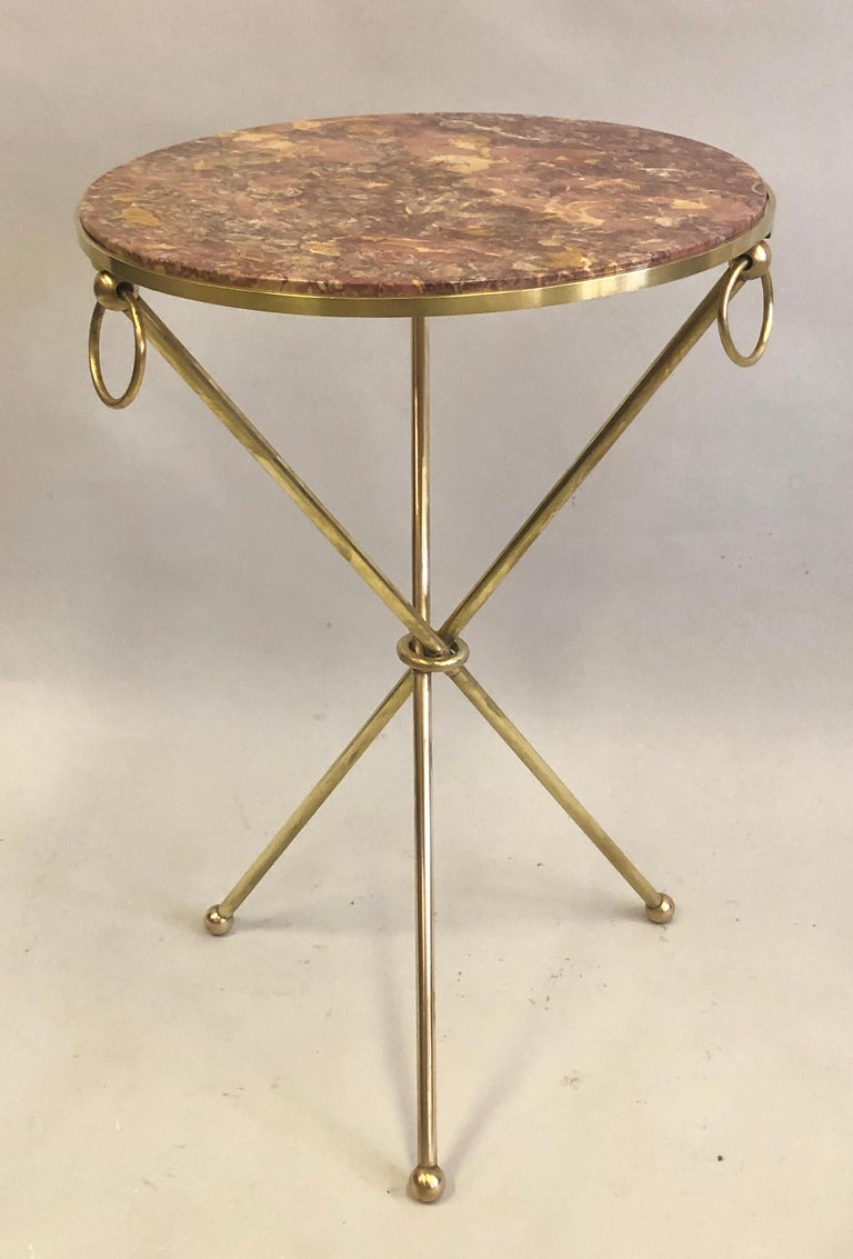 Pair of French Modern Neoclassical Brass & Marble Side Tables, Jean-Michel Frank For Sale 5