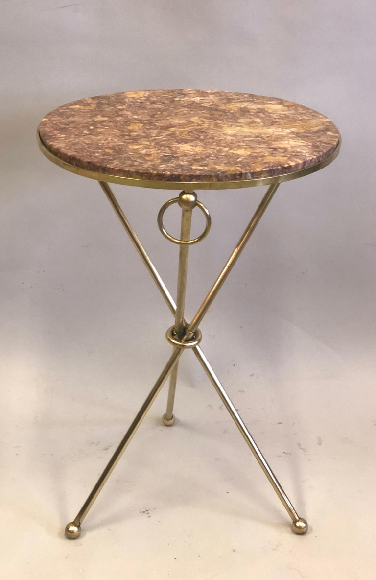 Pair of French Modern Neoclassical Brass & Marble Side Tables For Sale 6