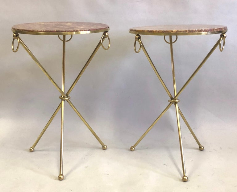 Mid-Century Modern Pair of French Modern Neoclassical Brass & Marble Side Tables For Sale