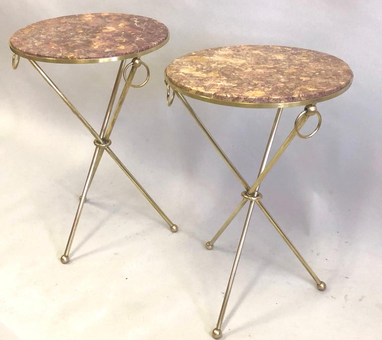 Pair of French Modern Neoclassical Brass & Marble Side Tables In Good Condition For Sale In New York, NY