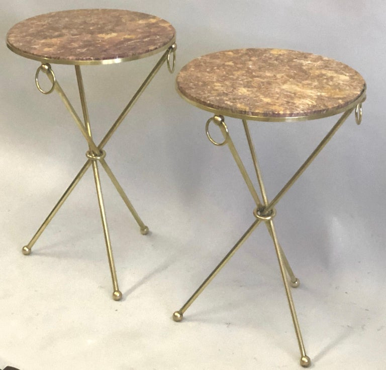 20th Century Pair of French Modern Neoclassical Brass & Marble Side Tables For Sale