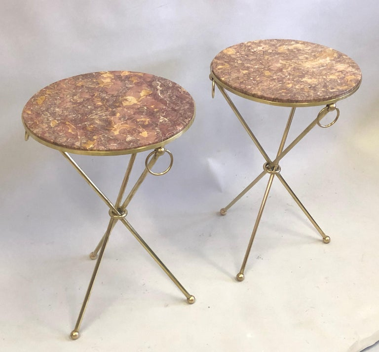 Pair of French Modern Neoclassical Brass & Marble Side Tables For Sale 1