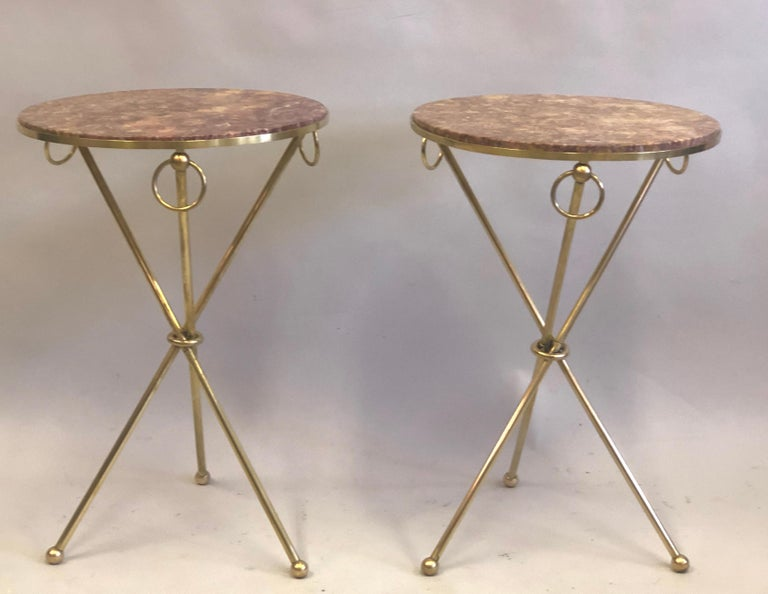 Pair of French Modern Neoclassical Brass & Marble Side Tables For Sale 2