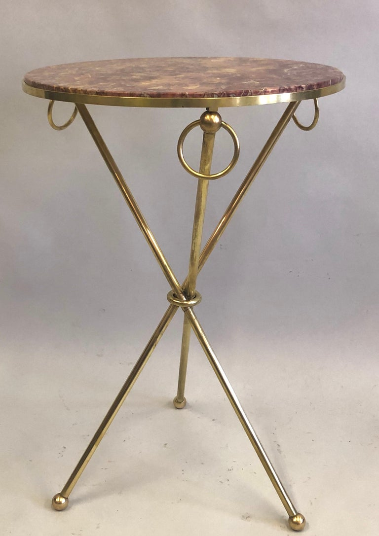 Pair of French Modern Neoclassical Brass & Marble Side Tables, Jean-Michel Frank For Sale 3