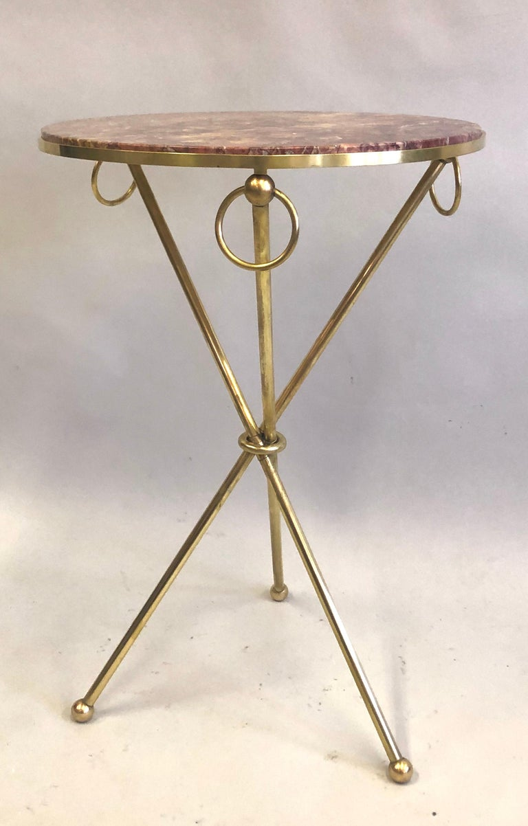 Pair of French Modern Neoclassical Brass & Marble Side Tables For Sale 4