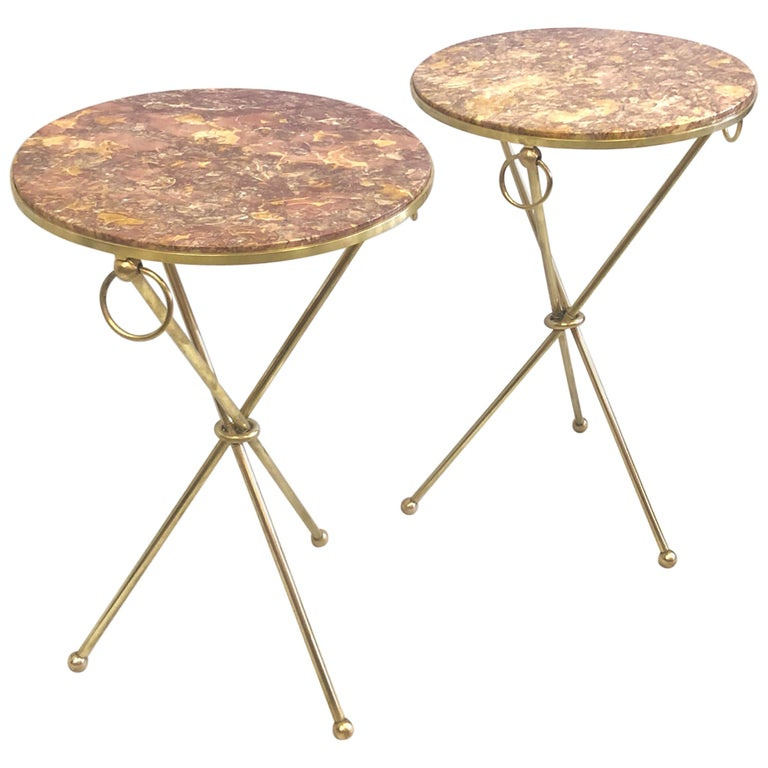 Pair of French Modern Neoclassical Brass & Marble Side Tables For Sale