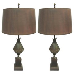 Pair of French Modern Neoclassical Bronze Table Lamps & Shades by Maison Charles