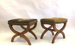 Pair of French Modern Neoclassical Stools / Benches Attributed to Andre Arbus,