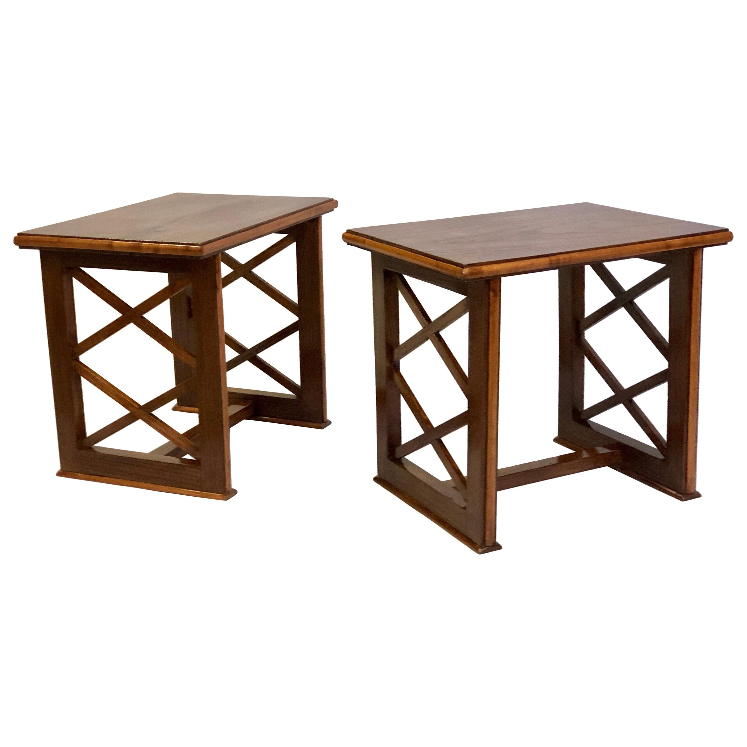 Pair of French Modern Neoclassical Wood End or Side Tables, Andre Arbus