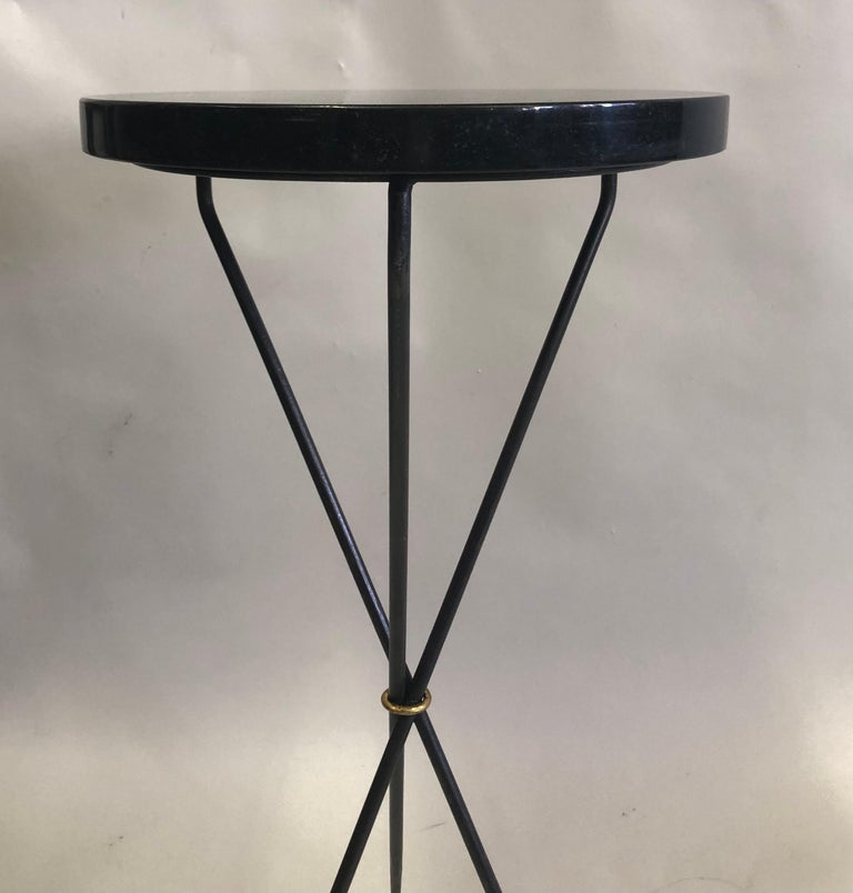 Pair of French Modern Neoclassical Wrought Iron Side Tables For Sale 3