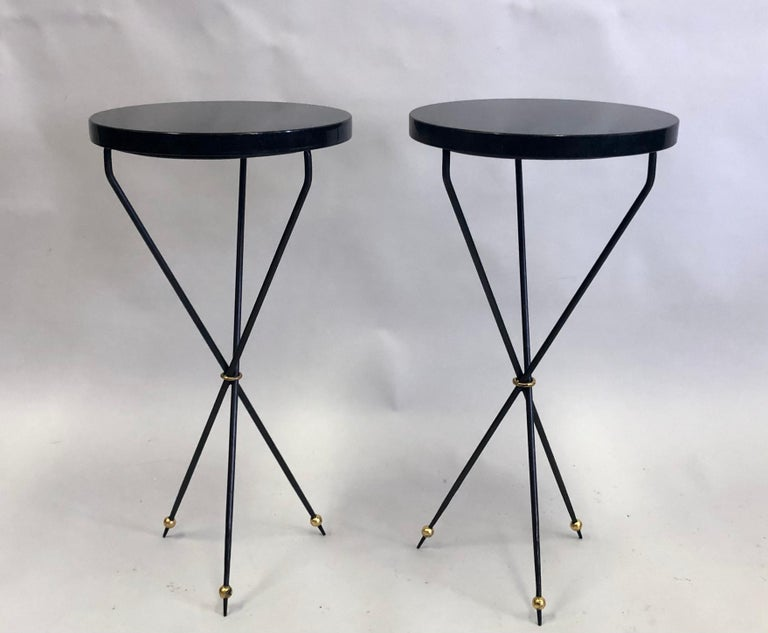 Mid-Century Modern Pair of French Modern Neoclassical Wrought Iron Side Tables For Sale