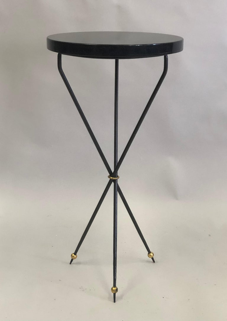 Gilt Pair of French Modern Neoclassical Wrought Iron Side Tables For Sale