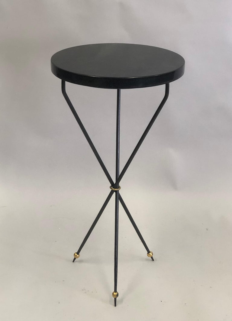 Pair of French Modern Neoclassical Wrought Iron Side Tables In Good Condition For Sale In New York, NY