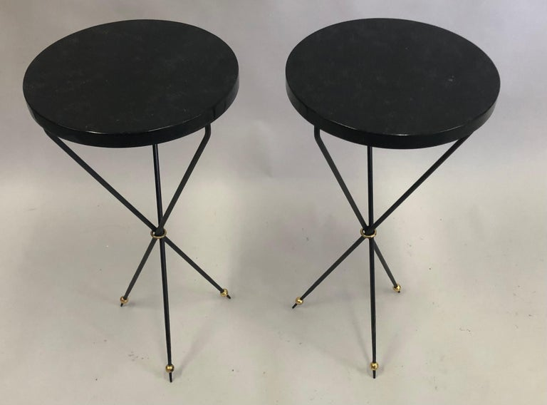 20th Century Pair of French Modern Neoclassical Wrought Iron Side Tables For Sale