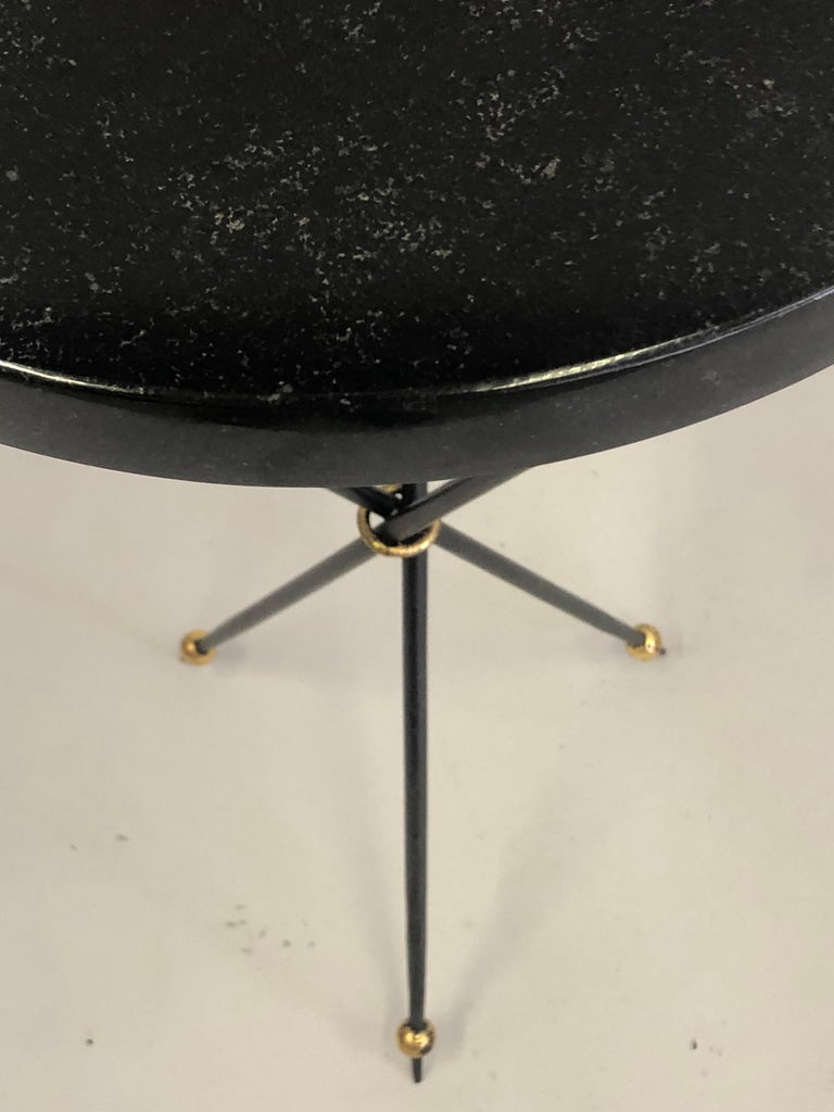 Stone Pair of French Modern Neoclassical Wrought Iron Side Tables For Sale