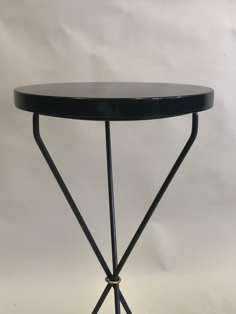 Pair of French Modern Neoclassical Wrought Iron Side Tables For Sale 1