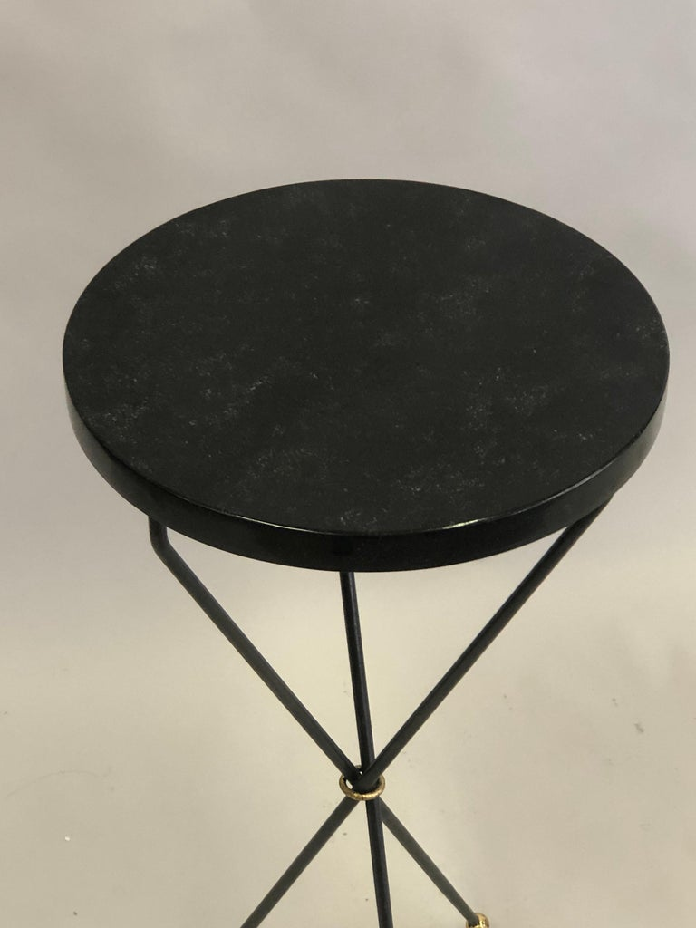 Pair of French Modern Neoclassical Wrought Iron Side Tables For Sale 2