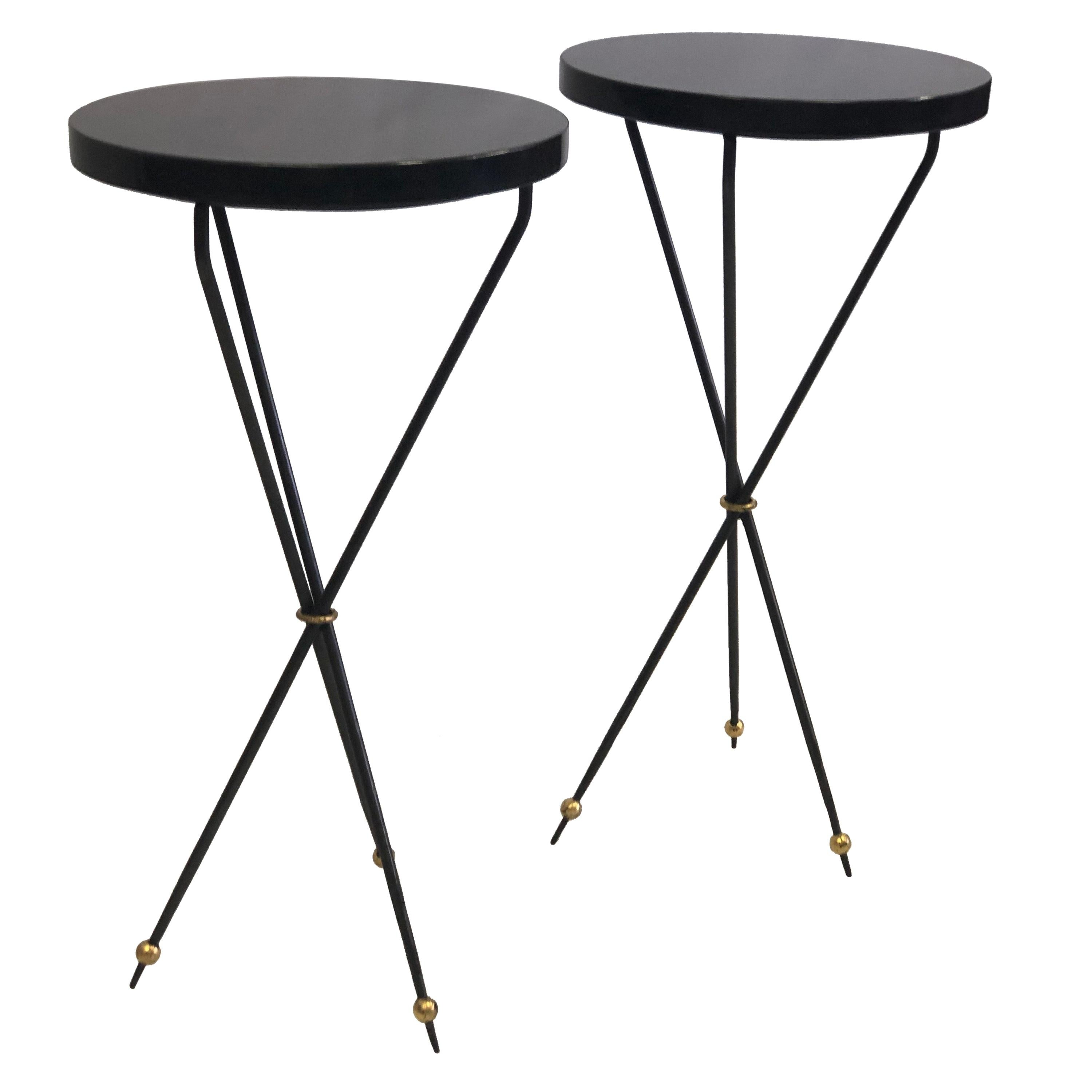 Pair of French Modern Neoclassical Wrought Iron Side Tables, Jean Michel Frank