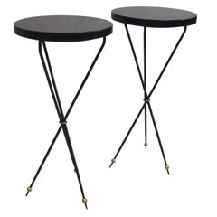 Pair of French Modern Neoclassical Wrought Iron Side Tables