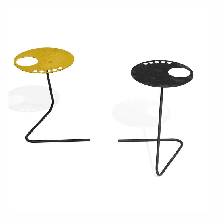 Enameled Pair of French Modern Side Tables, 1950s