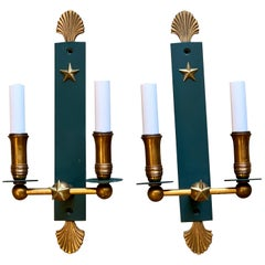 Pair of French Modern Wall Sconces, in the Style of Adnet
