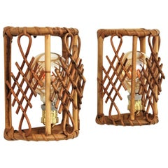 Pair of French Modernist Bamboo and Rattan Wall Sconces with Chinoiserie Accents