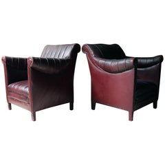 French Modernist Burgundy Rexine & Leather Upholstered Armchairs circa 1930 Pair