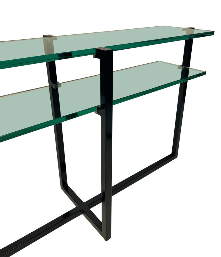 Ebonized Pair of French Modernist Console Tables