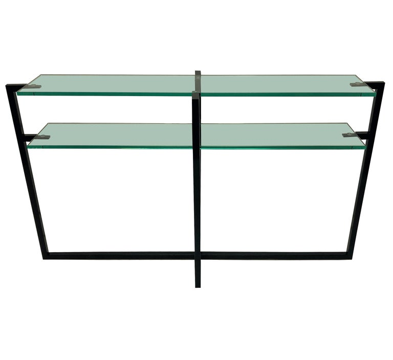 Steel Pair of French Modernist Console Tables