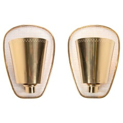 1950 French Modernist Wall Sconce Golden Curved & Perforated Brass, Set of 2