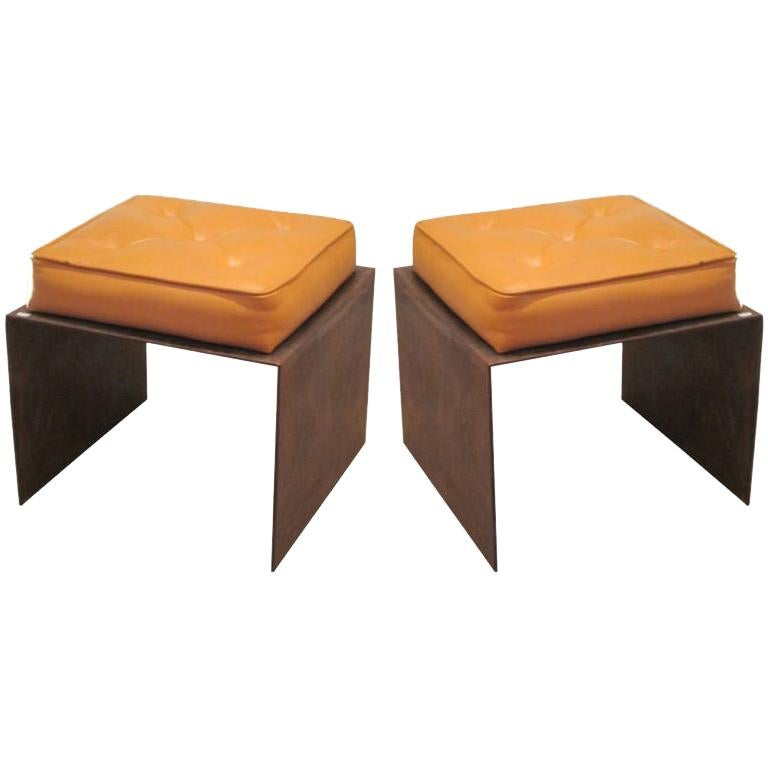 Pair of French Modernist Stools / Benches in Wrought Iron with Upholstered Seats