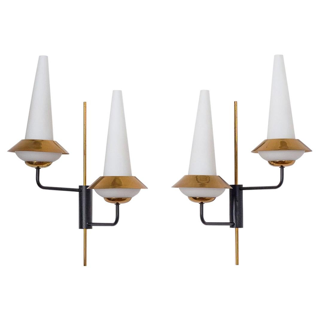 Pair of French Modernist Wall Lights, 1950s, Satin Glass and Brass