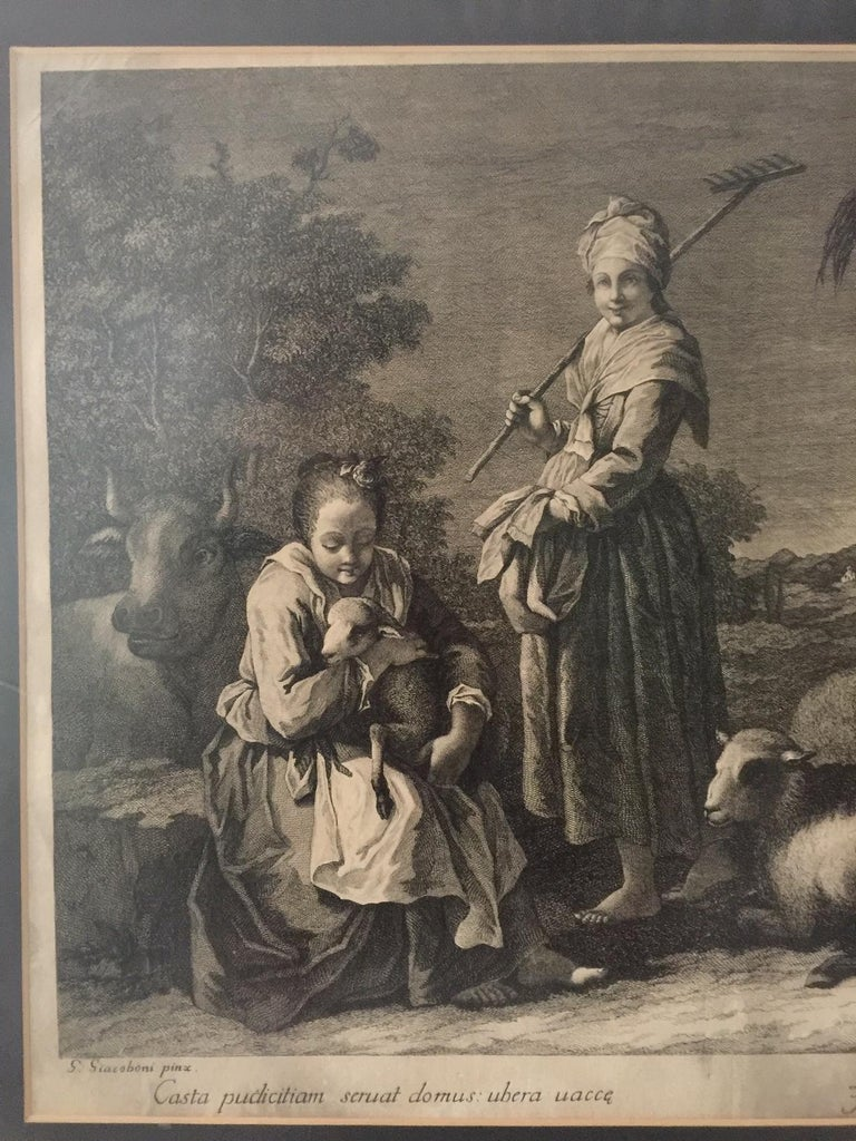 Pair of French Monochromatic Prints 'Etchings' For Sale 9