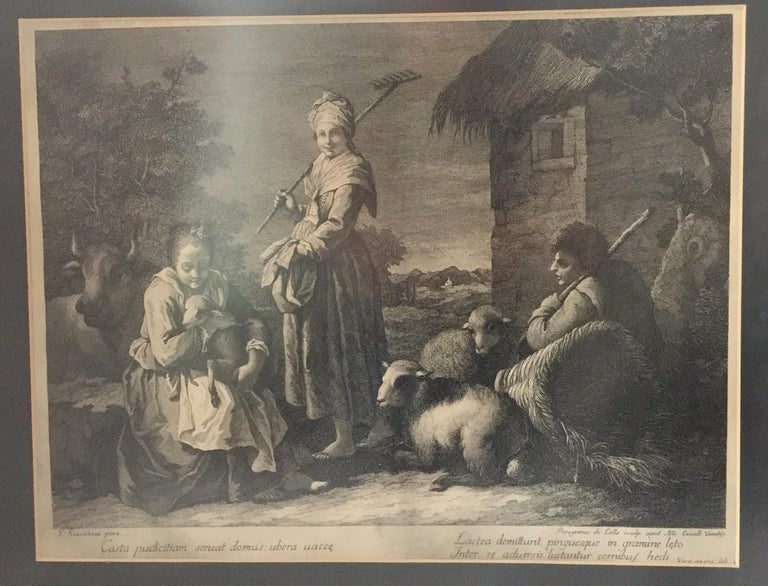 Pair of French Monochromatic Prints 'Etchings' For Sale 10