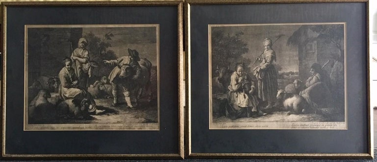 French Provincial Pair of French Monochromatic Prints 'Etchings' For Sale