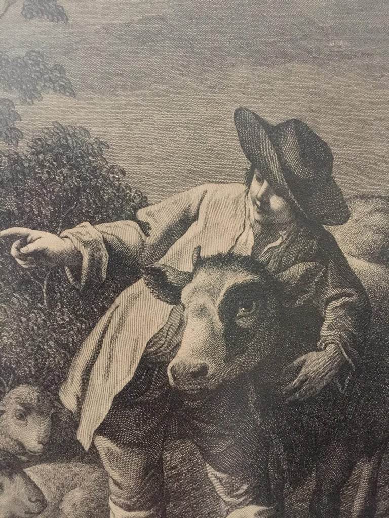 19th Century Pair of French Monochromatic Prints 'Etchings' For Sale