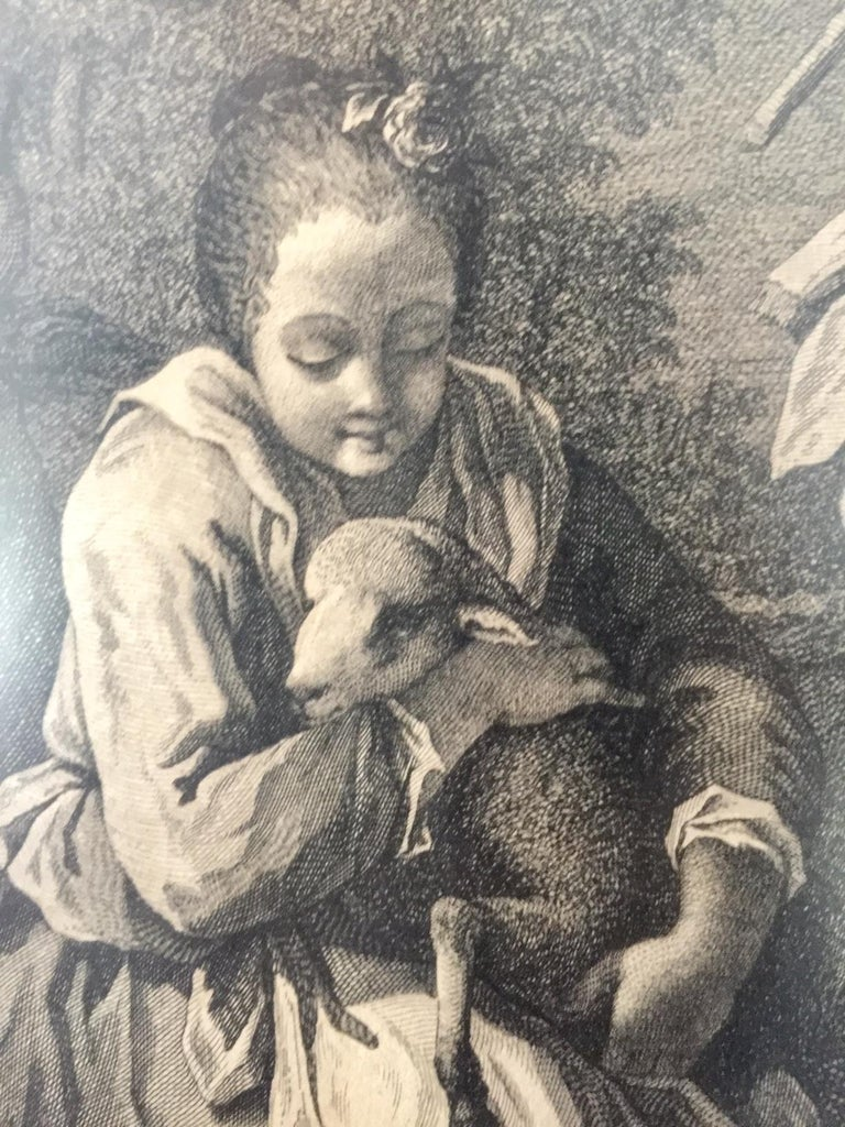 Pair of French Monochromatic Prints 'Etchings' For Sale 2