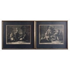 Pair of French Monochromatic Prints 'Etchings'