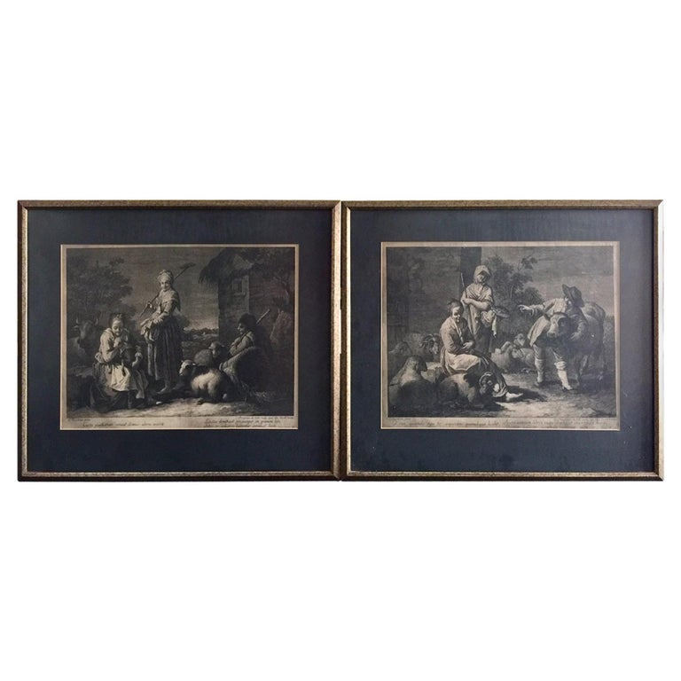 Pair of French Monochromatic Prints 'Etchings' For Sale