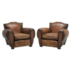 Pair of French Moustache Back Leather Club Chairs with an 80-Hour Restoration