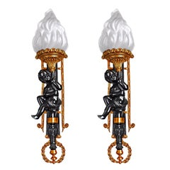 Pair of French Napolean III Empire Gilt Bronze Cherub Torch Putti Wall Sconces