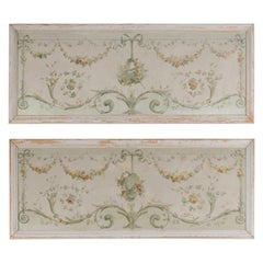 Pair of French Napoléon III 1860s Oil on Canvas Overdoors with Floral Garlands