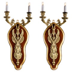 Pair of French Napoleon III Bronze Sconces with Winged Victory Figures