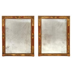Pair of French Napoleon III Decorated Giltwood Wall Mirrors, circa 1870