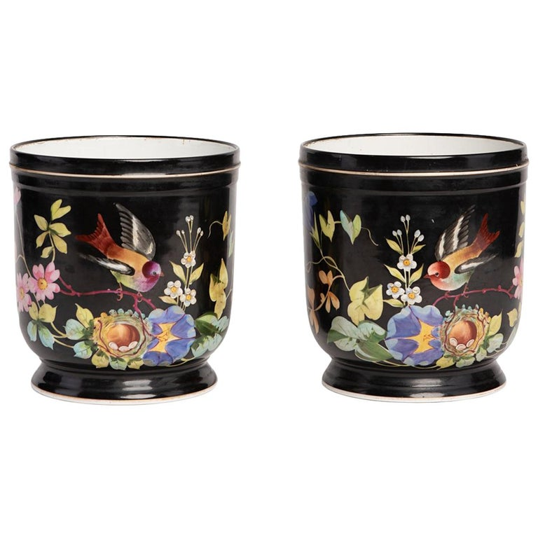 Pair of French Napoleon III Hand Decorated Cachepots, 1880 For Sale