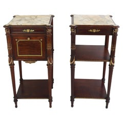 Pair of French Napoleon III Night Stands 19th Century Mahogany Bronze Marble