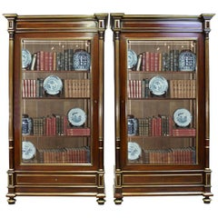 Pair of French Napoleon III or Second Empire Bookcases in Mahogany, circa 1870