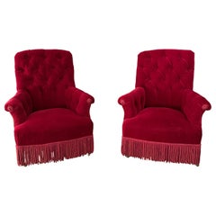 Pair of French Napoleon III Tufted Armchairs in Red Velvet